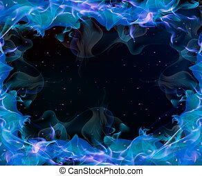 Frame with blue flame, vector art illustration.