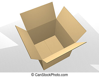 Open empty cardboard box - Brown empty cardboard box open