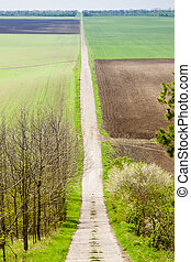 spring landscape with fields in Southern Moravia, Czech...