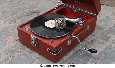 vintage disk on gramophone, heritage record player with...