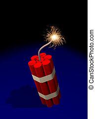Dynamite fuse burning