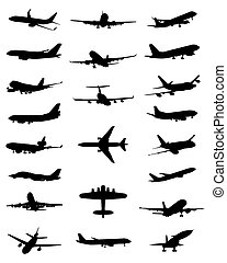 aircrafts - Black silhouettes of different aircrafts, vector