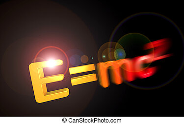 E=mc2 theory of relativity - Partly motion blur 3D letters...