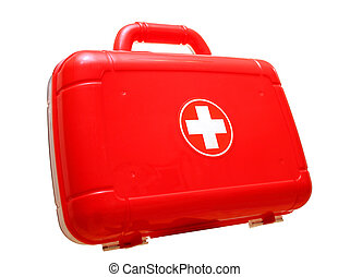 Red first aid kit bag - Isolated plastic first aid bag with...