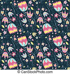 Floral vector seamless pattern with bright flowers