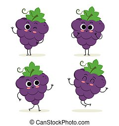 Grape. Cute fruit character set isolated on white