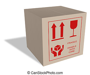 Cardboard box with fragile content - Brown moving box with...