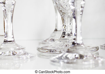 Clear Crystal Glass - Close Up of Detail of a Crystal Glass....