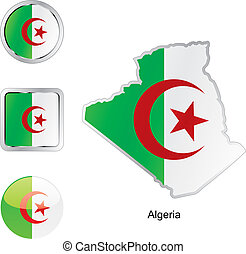 flag of algeria in map and internet buttons shape