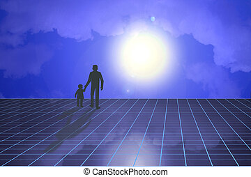 Futuristic scene of father and child - Silhouette of father...