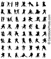 tango players - Black silhouettes of tango players, vector