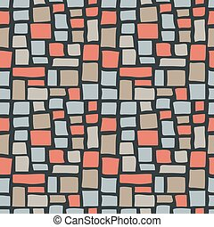 Abstract Cobble Bricks Seamless Pattern Texture - Abstract...