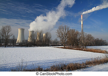 Power plant - The steam from the cooling towers and smoke...