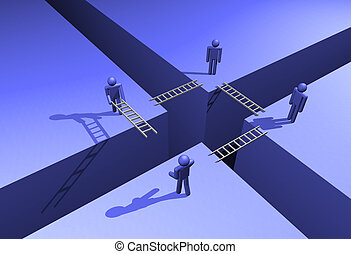 Succesful teamwork - Team of four people building bridges in...