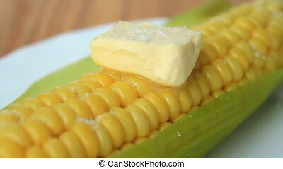 Boiled Corn Cob With Butter - Hot boiled Corn Cob With...