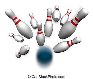 Bowling ball hitting pins - Bowling ball crashing into the...