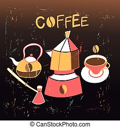 Graphic background with coffee appliances