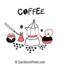 Background with coffee appliances
