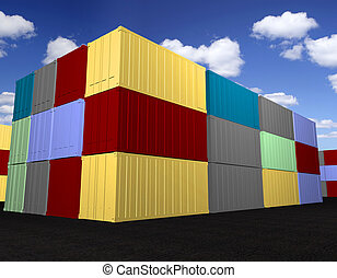 Cargo containers - Stacked cargo containers with sky...