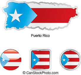 flag of puerto rico in map and web buttons shapes - fully...
