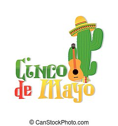 Cinco de mayo - White background with text and traditional...