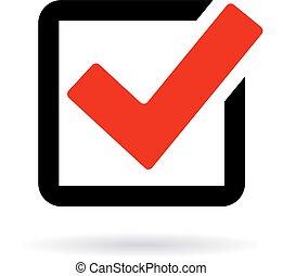 Red check box icon