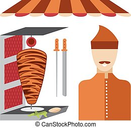 flat design doner kebab elements and chef