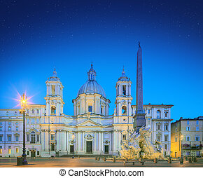 Four Rivers fountain and church Sant'Agnese - Fountain of...