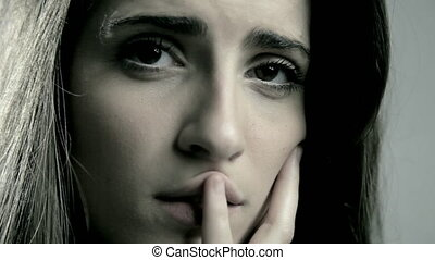 woman suffering feeling lonely - Sad lonely beautiful woman...