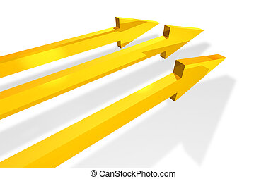 Parallel arrows - Three golden arrows showing development