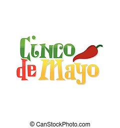 Cinco de mayo - White background with text and pepper for...