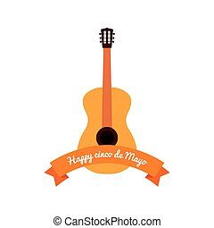 Cinco de mayo - White background with a ribbon and a guitar...
