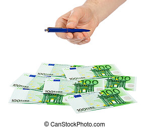 Hand giving pen and money
