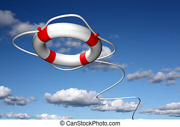 Life preserver ring flying - Lifebuoy ring - symbol for help...