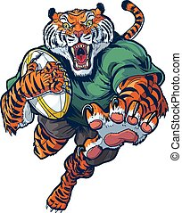 Tiger Rugby Mascot Vector Cartoon - Vector cartoon clip art...