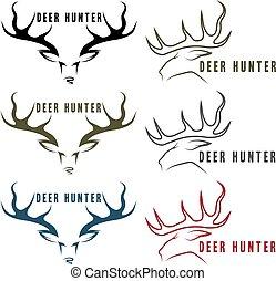 deer hunter vector vintage emblems set