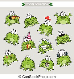 Frog Vector stickers - Frog mascot emoticons - set of Vector...