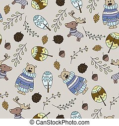 Seamless pattern with a doodle forest