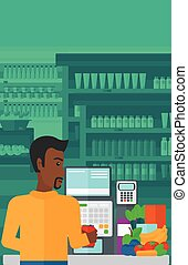 Cashier at supermarket checkout - An african-american...
