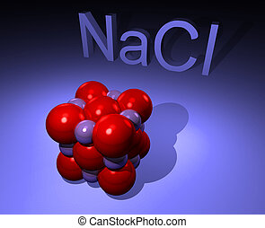 Molecule of natrium chloride - salt - 3D illustration of...