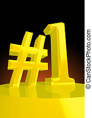 Number one - Big golden number one symbol for the best