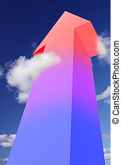 Colorful arrow pointing to the sky symbolizing success