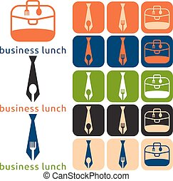 vector design business lunch and icon set flat design