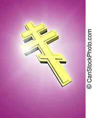 Golden orthodox cross shining - Orthodox cross symbol...