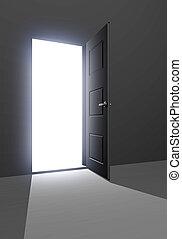 Doorway to unkown - Open doorway filled with light