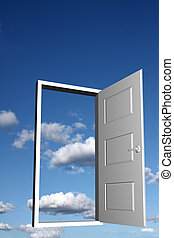 Door to heaven - Open doorway with sky and clouds in the...