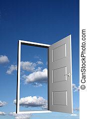 Door to heaven - Open doorway with sky and clouds in the...