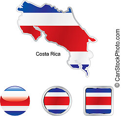flag of costa rica in map and web buttons shapes - fully...