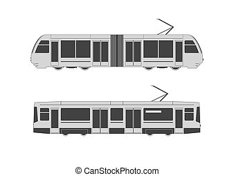 Tramway set. Vector illustration.
