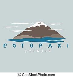 vector abstract illustration of volcano Cotopaxi in Ecuador